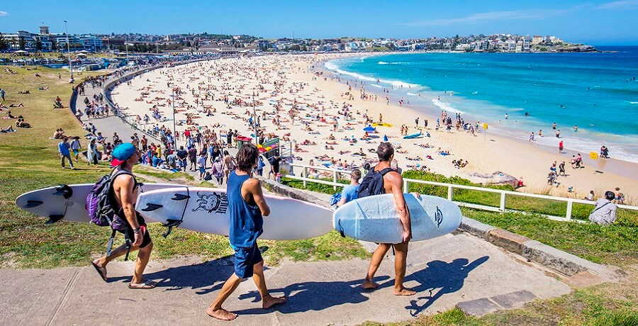 surfers at bondi beach